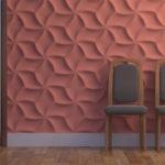 Гипсовая 3д панель Оригами в интерьере