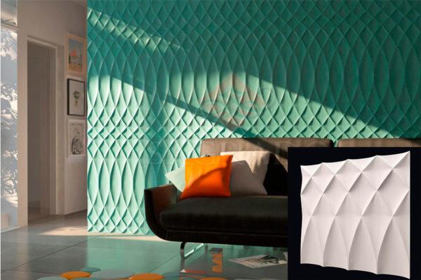 Гипсовая 3д панель Буфы от компании Sagrado в интерьере