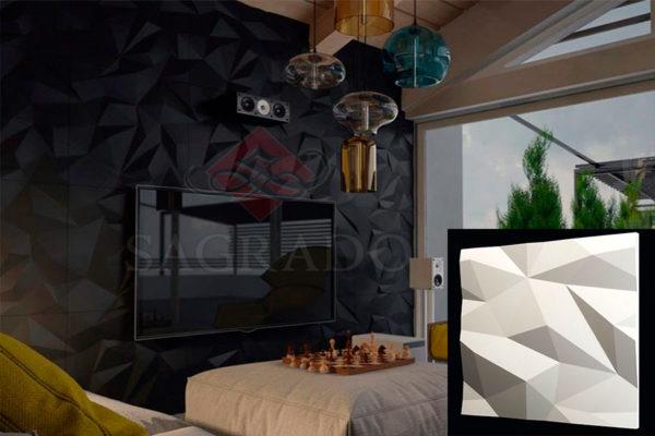 Гипсовая 3д панель Кристаллы в интерьере