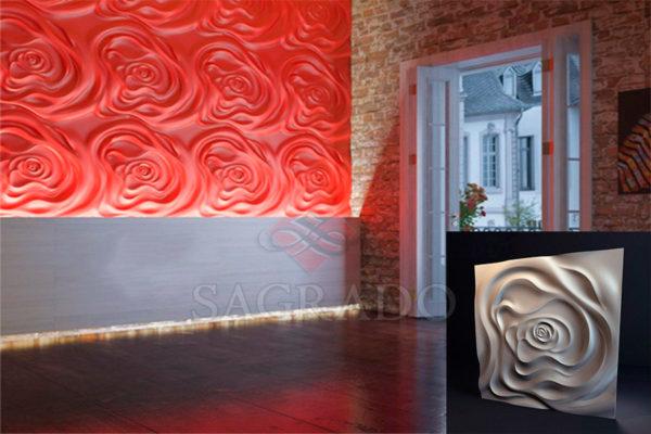 Гипсовые 3д панели Чайная роза в Киеве от производителя Sagrado