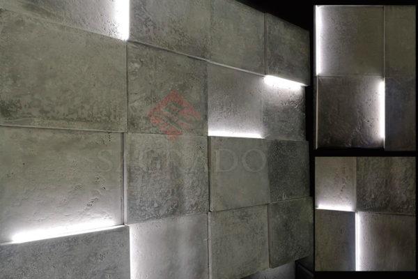 Светящиеся бетонные 3д панели квадраты в Киеве от Sagrado